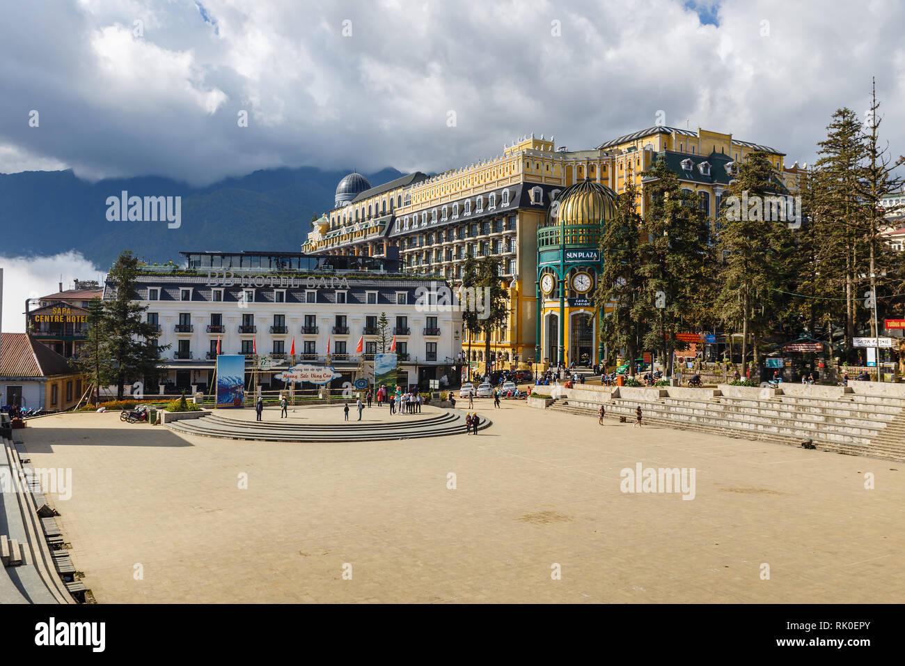 Sapa, Vietnam - November 20, 2018: View of Sun plaza SAPA station building new shopping mall in SAPA northwest Vietnam. - Stock Image