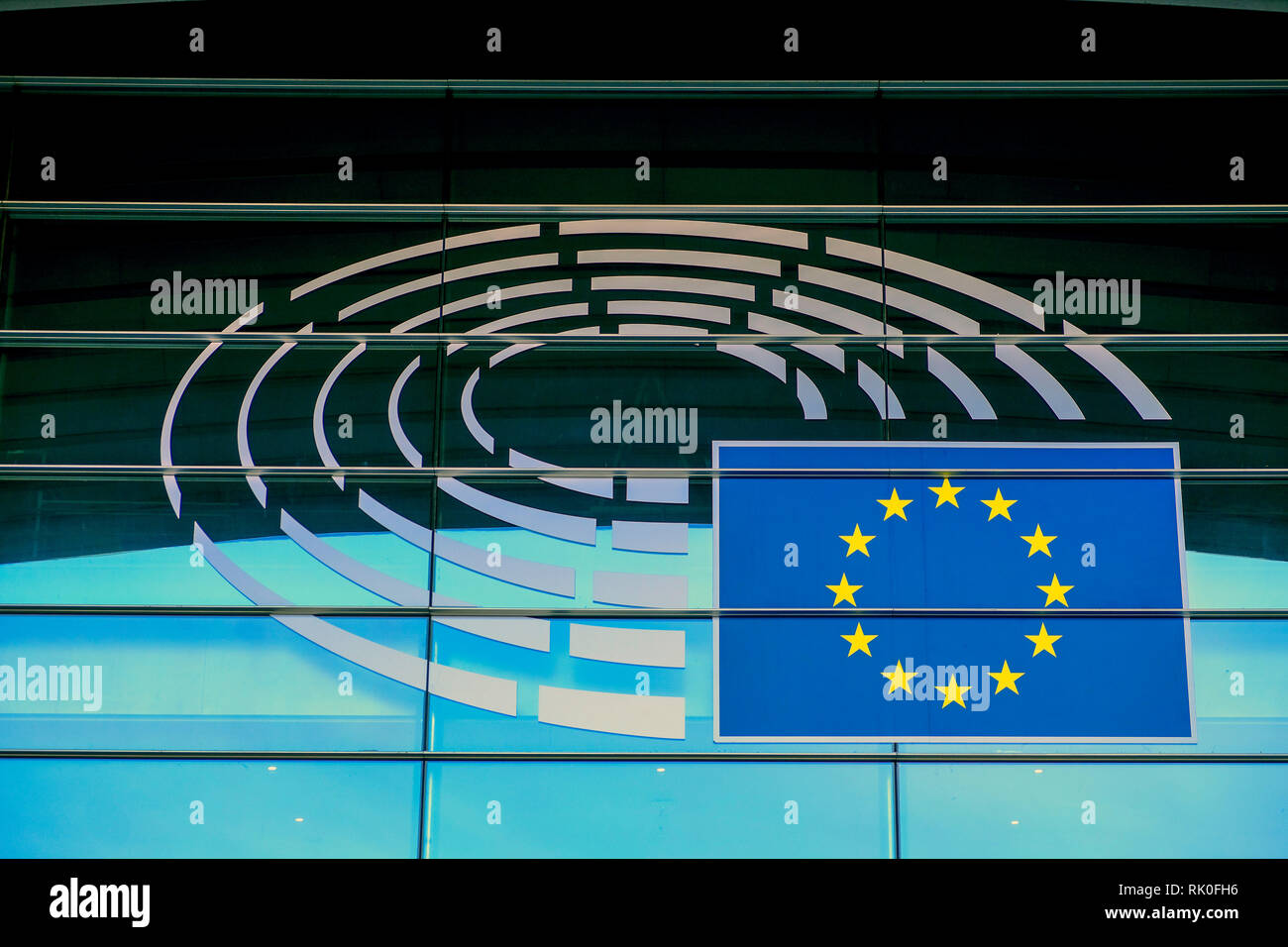 Brussels, Belgium - Logo of the European Parliament in Brussels on the building of Altiero Spinelli, Bruessel, Belgien - Logo des Europaeischen Parlam - Stock Image