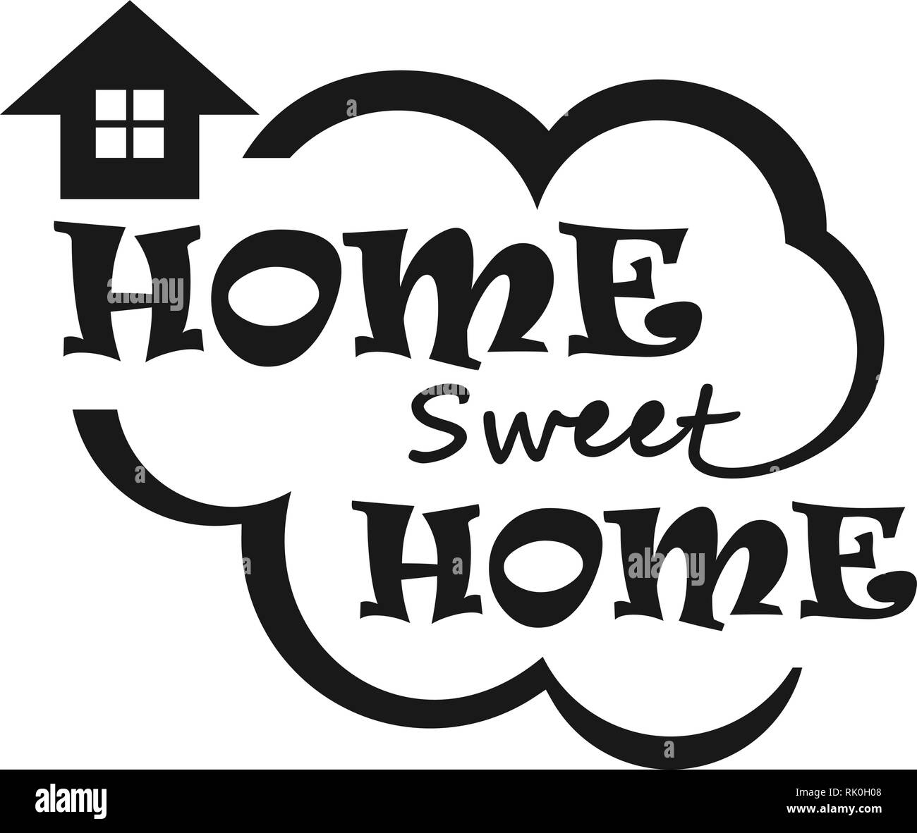 Font quotes 'home sweet home'. Vector calligraphy graphics. - Stock Vector