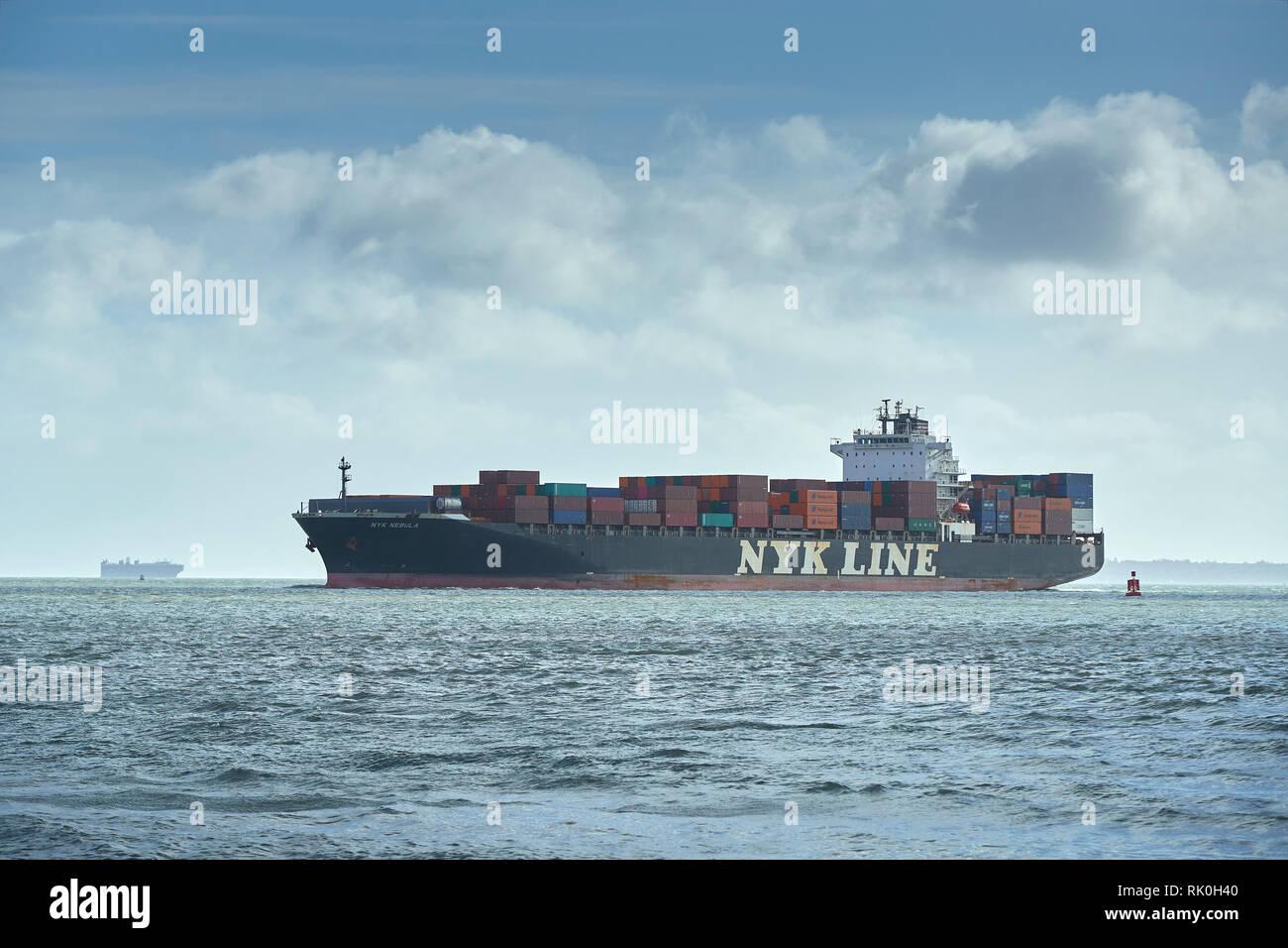NYK LINE Container Ship, NYK NEBULA, Approaching The Port Of Southampton, United Kingdom, 7 February 2019 - Stock Image