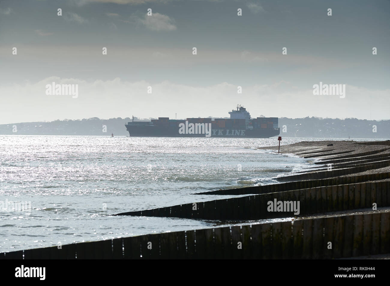 NYK LINE Container Ship, NYK NEBULA, Approaching The Port Of Southampton, United Kingdom, 7 February 2019. - Stock Image