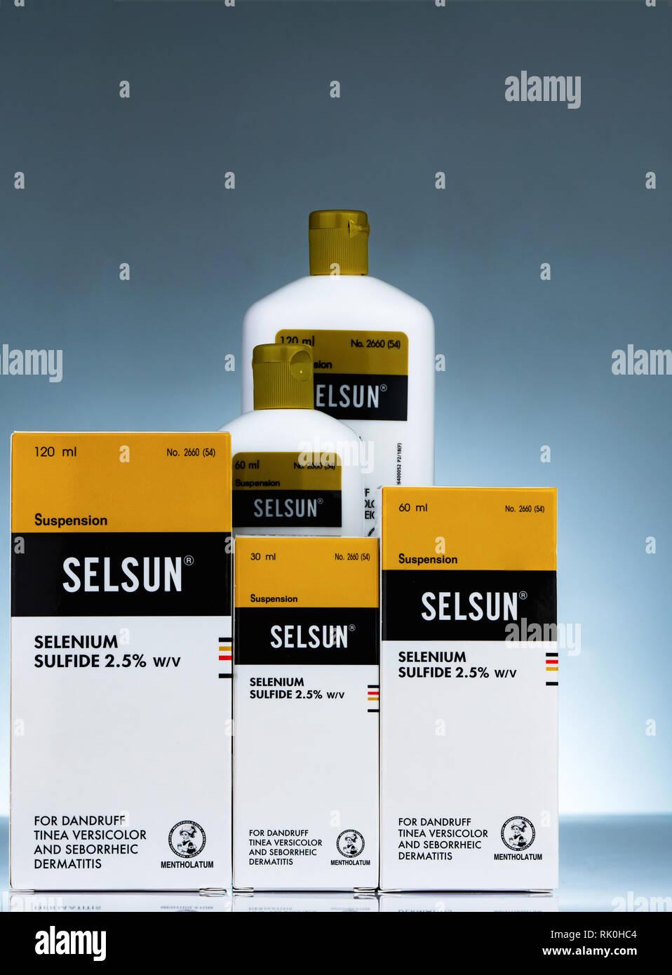 CHONBURI, THAILAND-OCTOBER 27, 2018 : Selsun suspension. Selenium sulfide 2.5% shampoo for dandruff Tinea Versicolor and seborrheic dermatitis. Medica Stock Photo