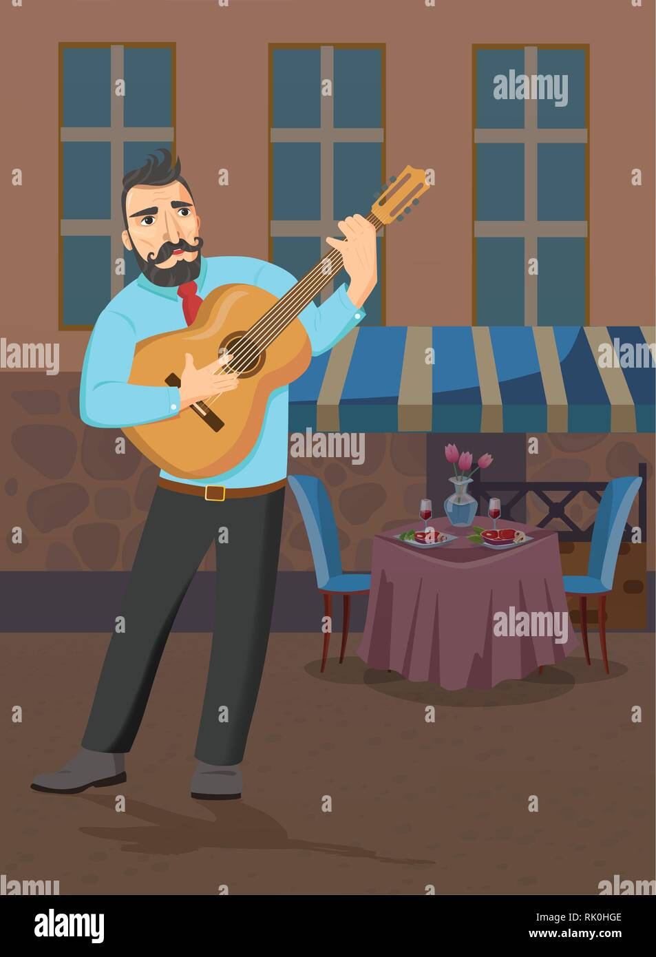 Man with guitar stands near the restaurant and sings. - Stock Vector