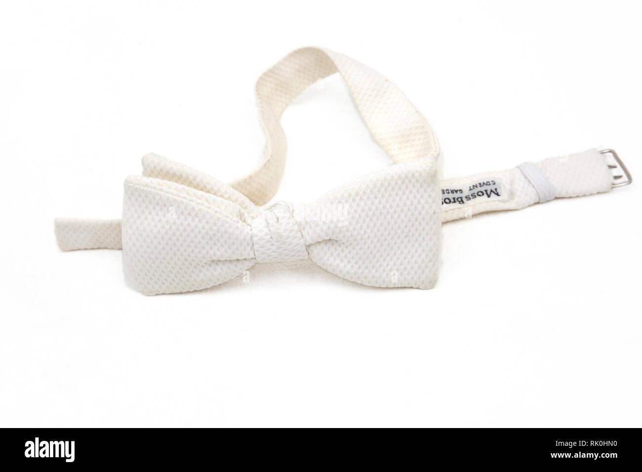 Moss Boss White Bow Tie - Stock Image