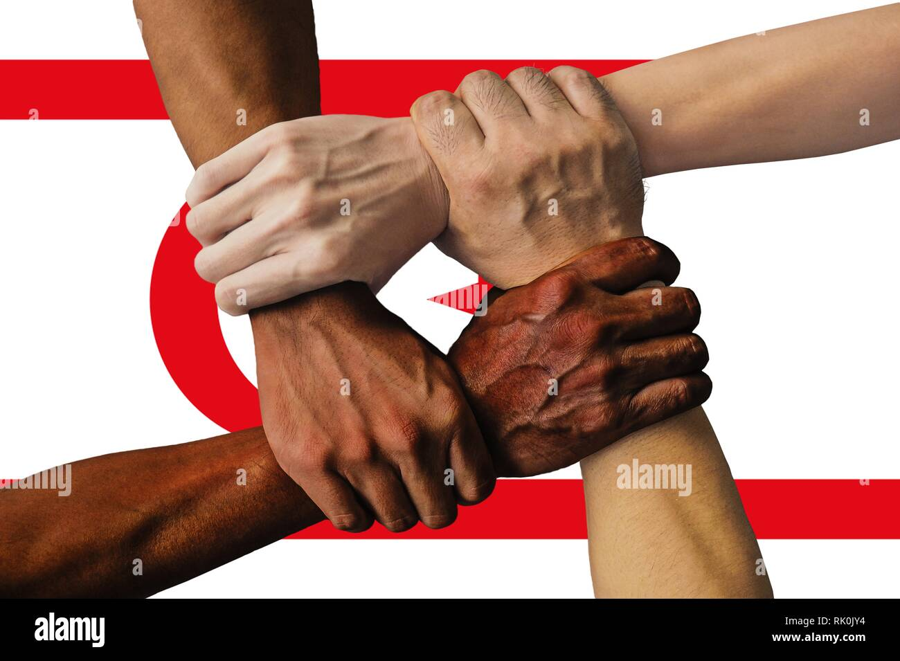 Turkish Republic of Northern Cyprus flag, intergration of a multicultural group of young people - Stock Image