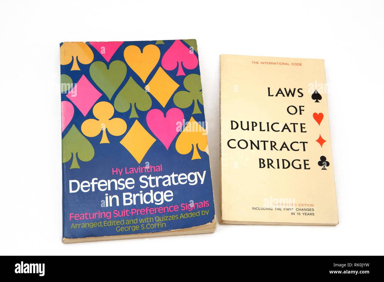 Books on Bridge - Defense Strategy in Bridge and Laws of Duplicate Contract Bridge - Stock Image