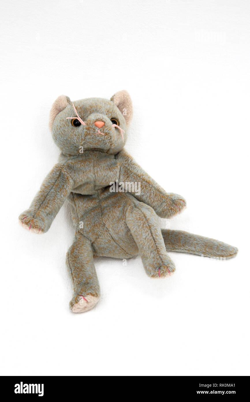 TY Beanie Baby Grey Cat - Stock Image