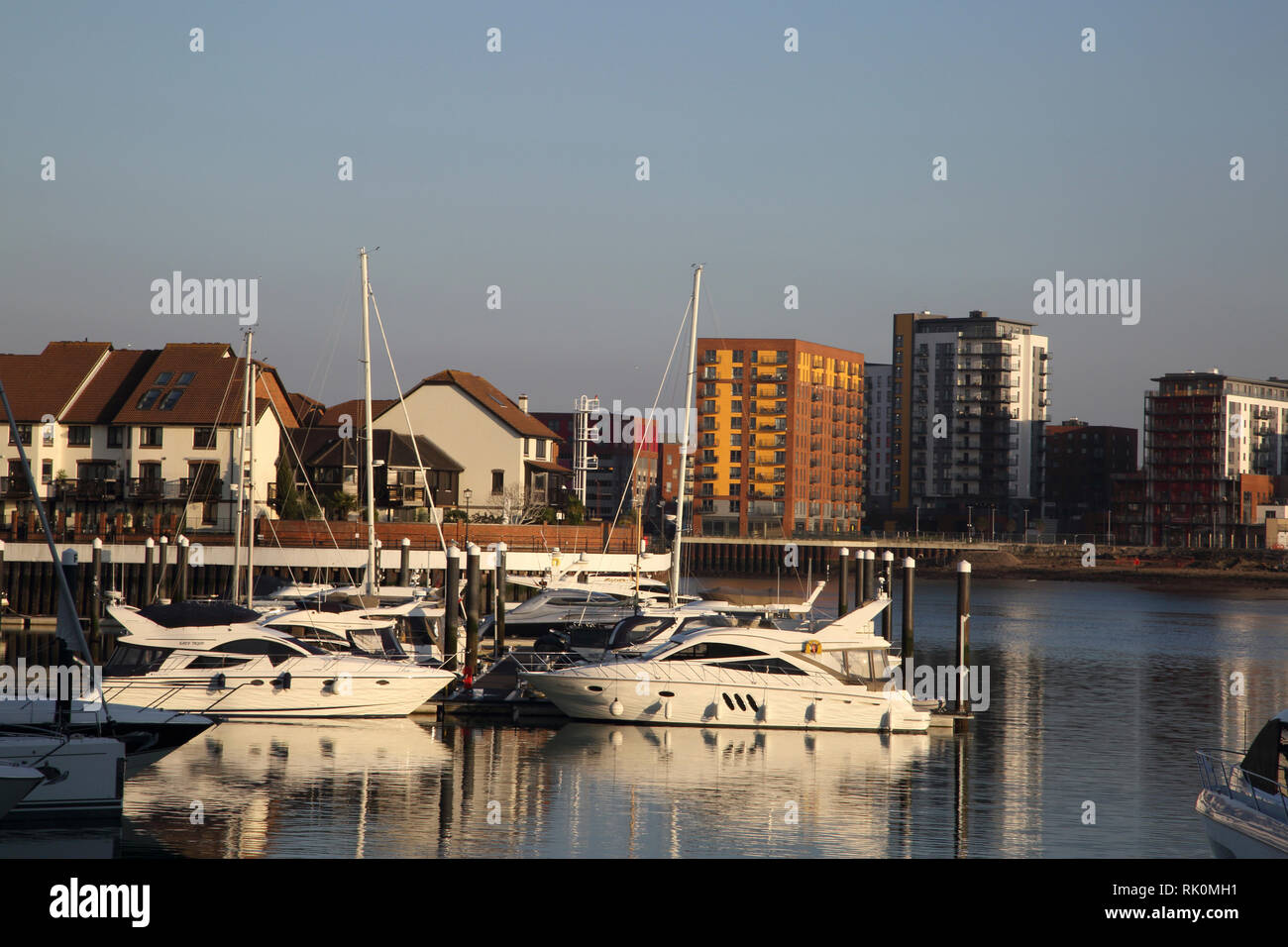 Ocean Village Southampton England Waterside Apartments And Yachts - Stock Image