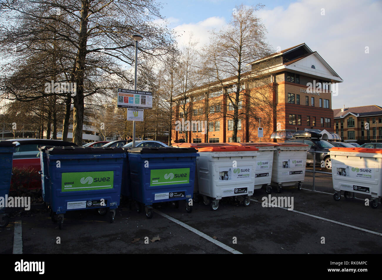 Ocean Village Southampton Hampshire England Recycling and Waste Area - Stock Image