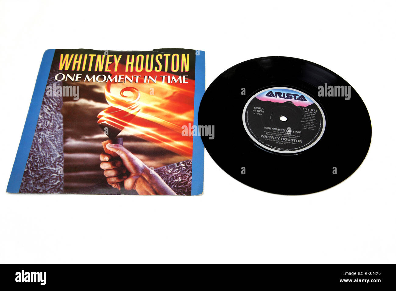 Whitney Houston One Moment in Time Single Record - Stock Image