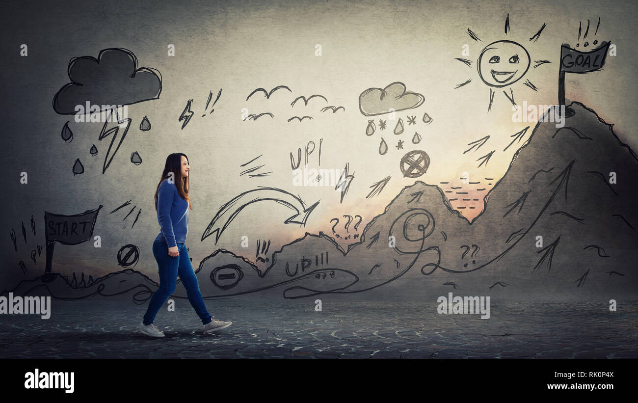 Woman starting a life quest with obstacles. Self overcome imaginary climbing mountain with ups and downs, conquering for reaching purposes. Difficult  - Stock Image