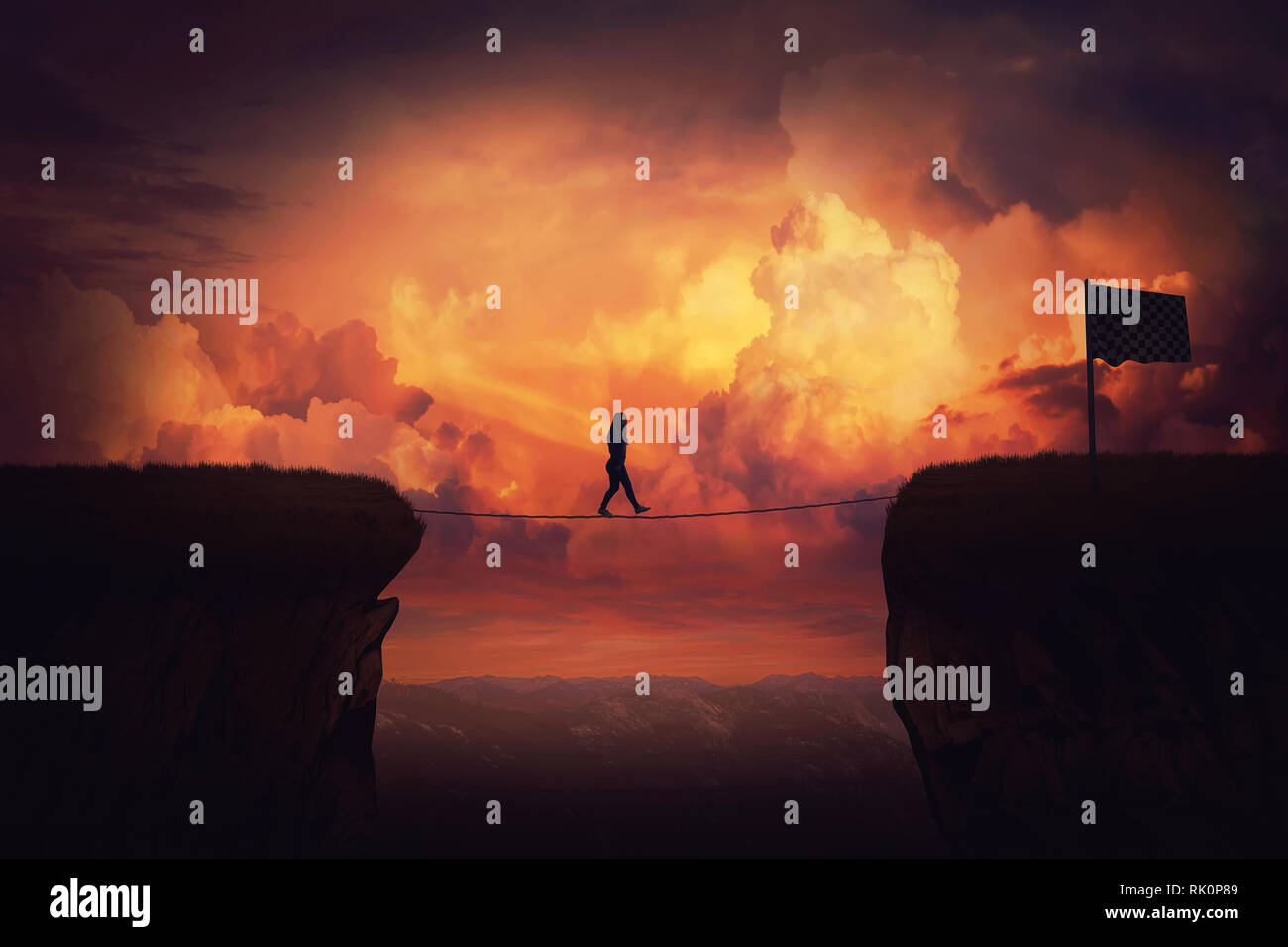 Surreal challenge overcome as woman cross chasm conquering obstacle balancing on slackline rope above the clouds. Way to finish, reach the flag over s - Stock Image