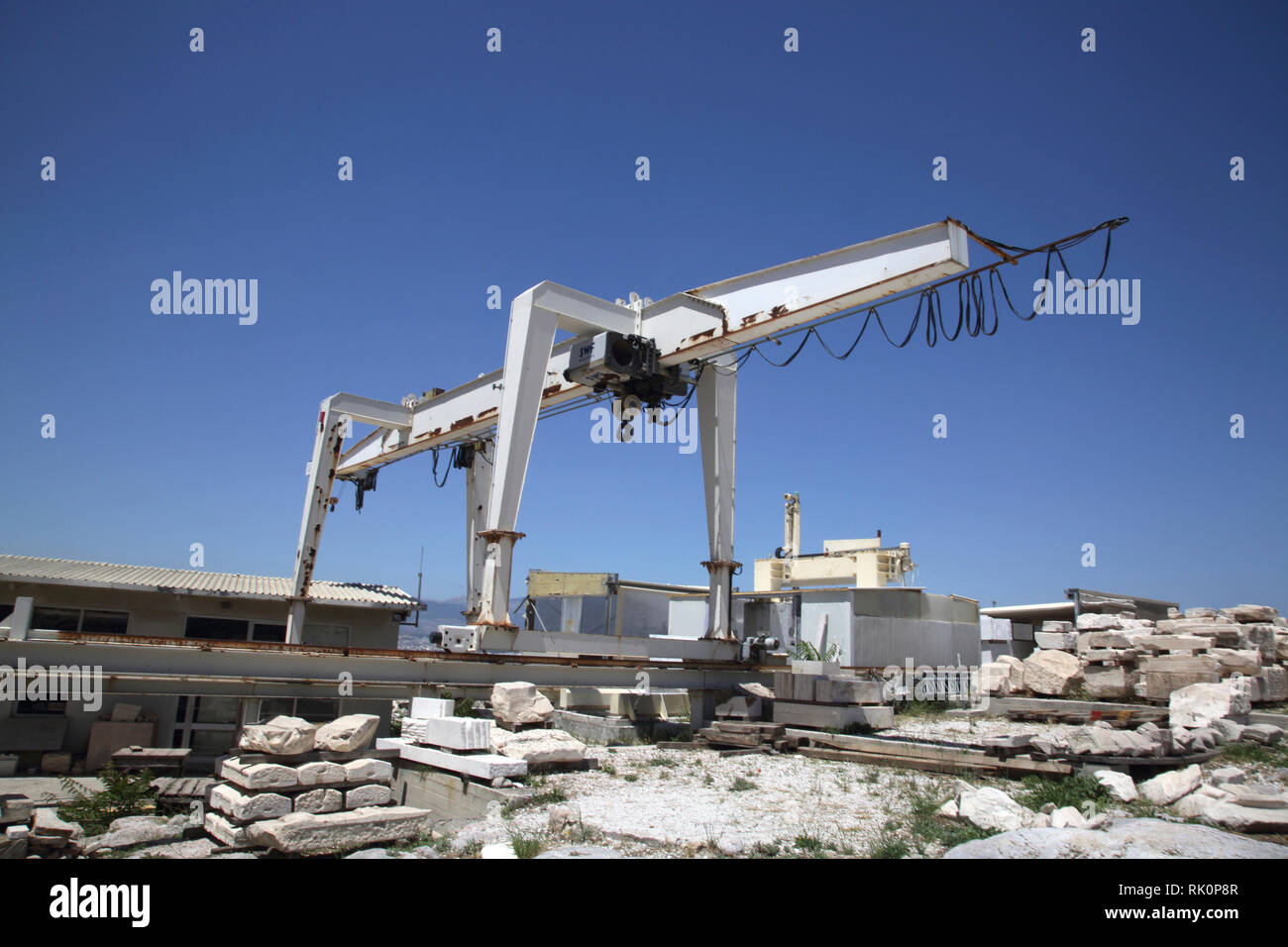 Acropolis Athens Greece Gantry Crane being used to handle stones for the Restoration of the Acropolis - Stock Image