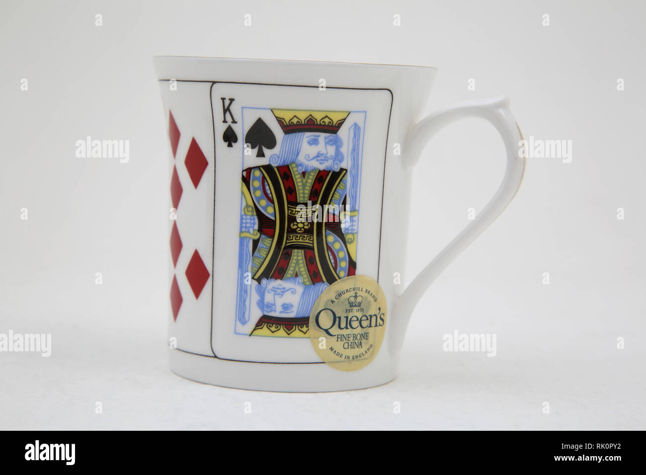968eaa7aa3a Churchill Brand Queen's Fine Bone China Mug with Playing Cards Design -  Stock Image