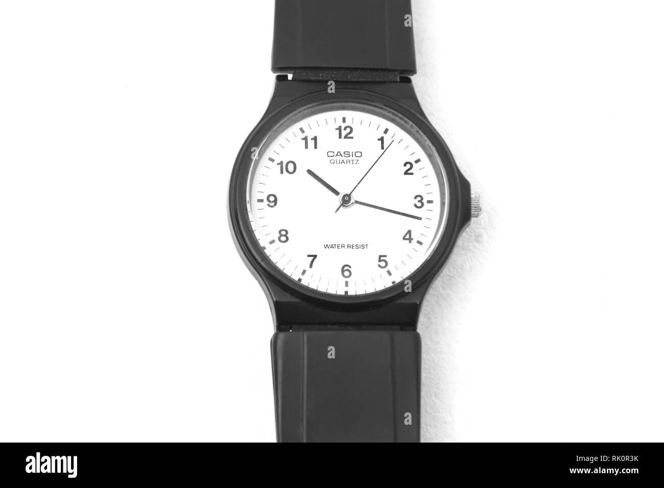 Casio Quartz Water Resistant Watch with Black Strap - Stock Image