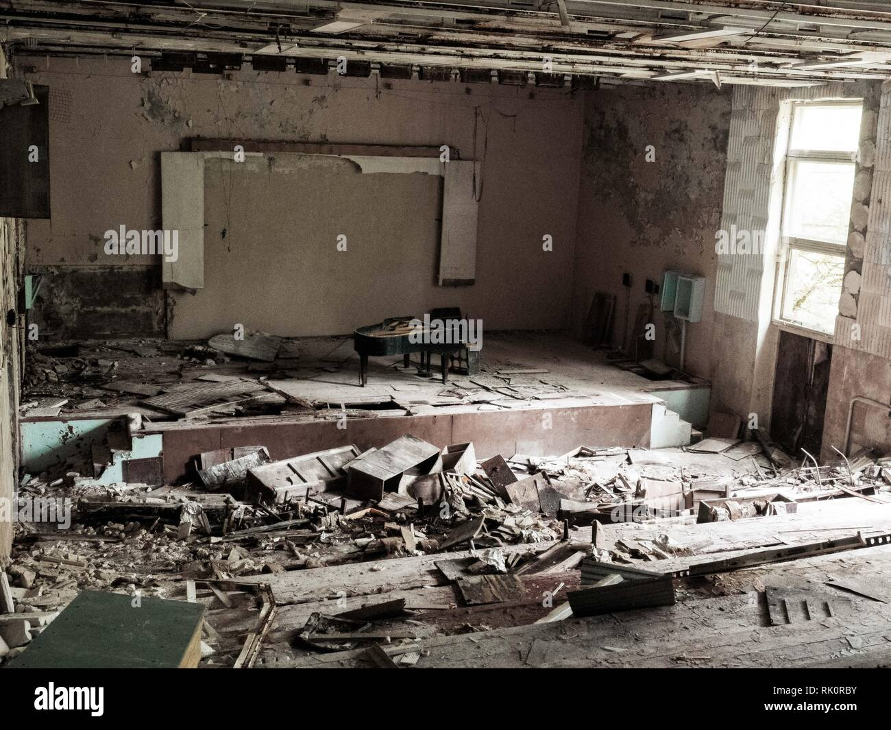 Pripyat city of ghost and playground abadoned cars. Famous Music School - Stock Image