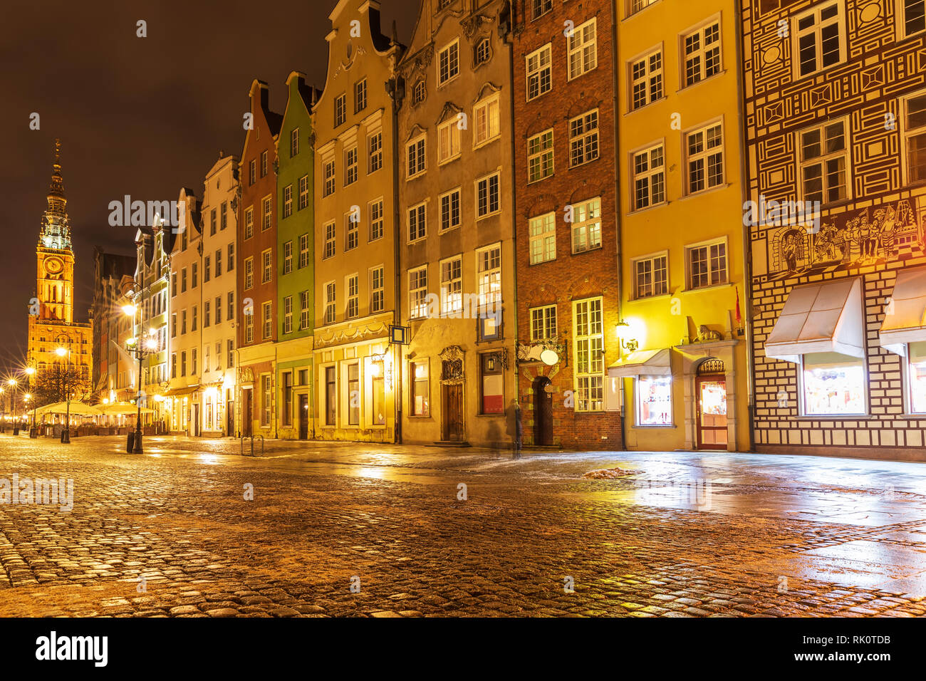 Long market in Gdansk, famous european street in the evening, Poland Stock Photo