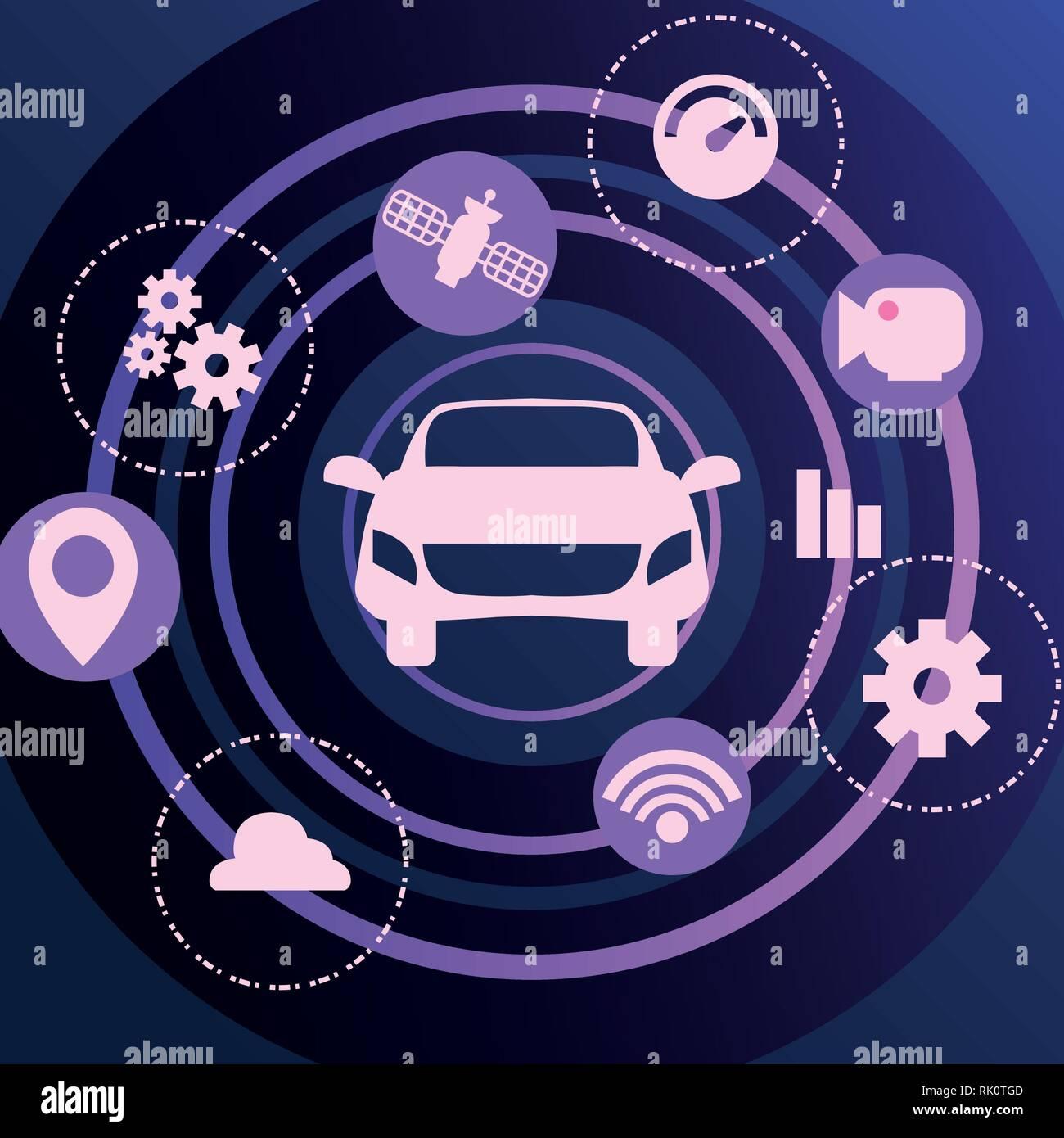 autonomous smart car satellite navigation icons vector illustration - Stock Image