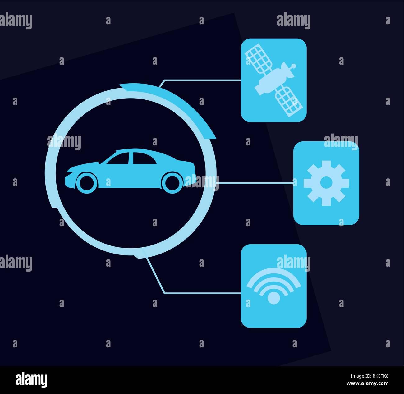 autonomous smart car internet satellite and setting vector illustration - Stock Image