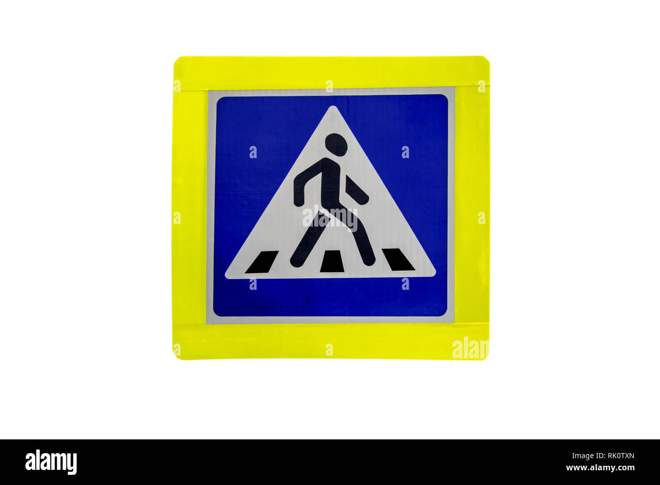 Pedestrian crossing, road sign isolated on white background. - Stock Image