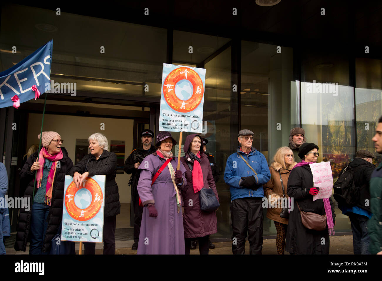 England. Essex. Chelmsford Crown Court. Protest outside the court whilst the Stanstead 15 were being sentenced. The Stanstead 15 were convicted in Dec - Stock Image