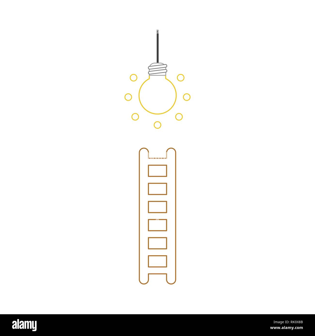 6816d632f Flat design style vector illustration concept of climb to glowing light  bulb with wooden ladder symbol