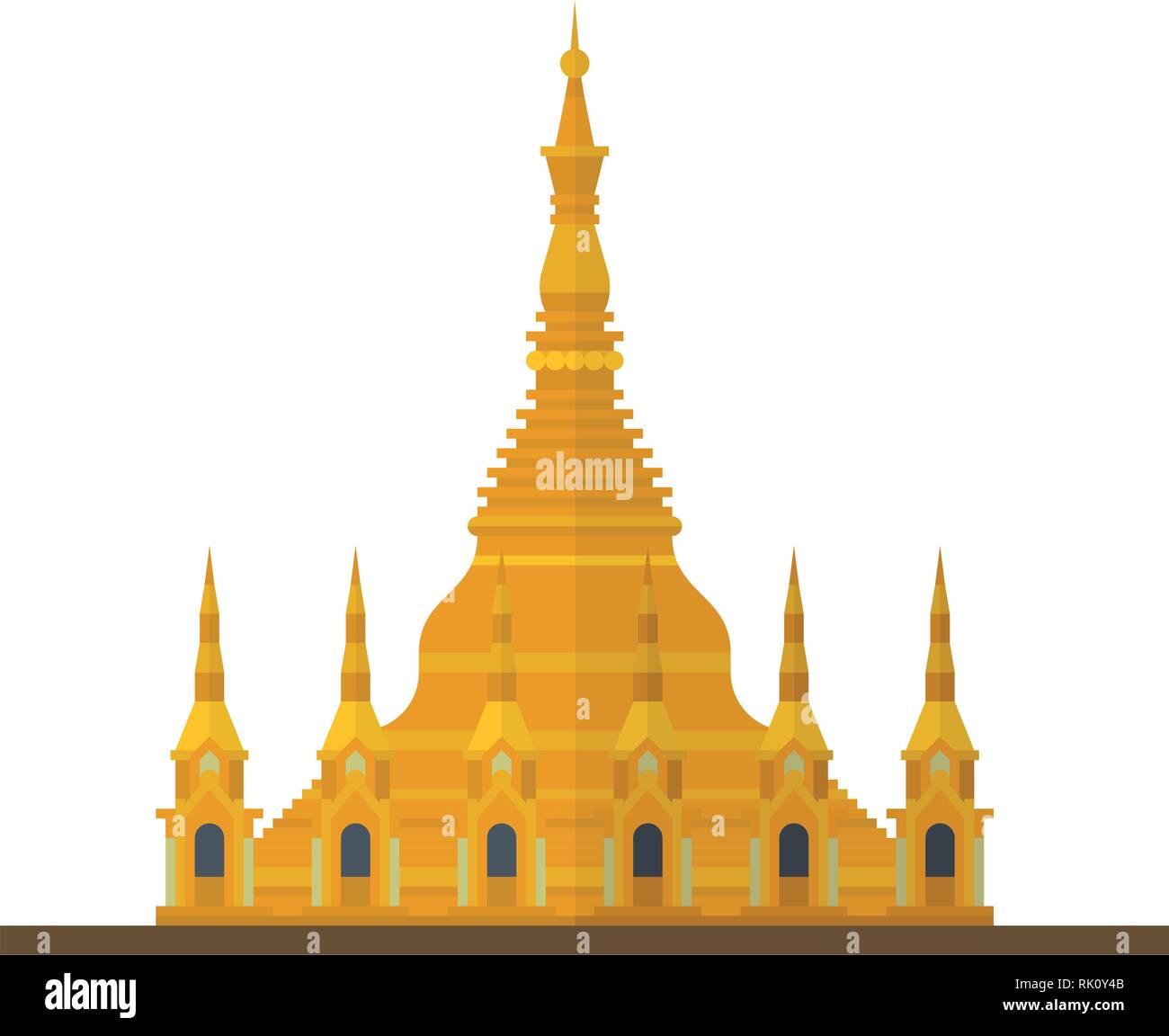 Flat design isolated vector icon of Shwedagon Pagoda, Yangon, Myanmar - Stock Vector