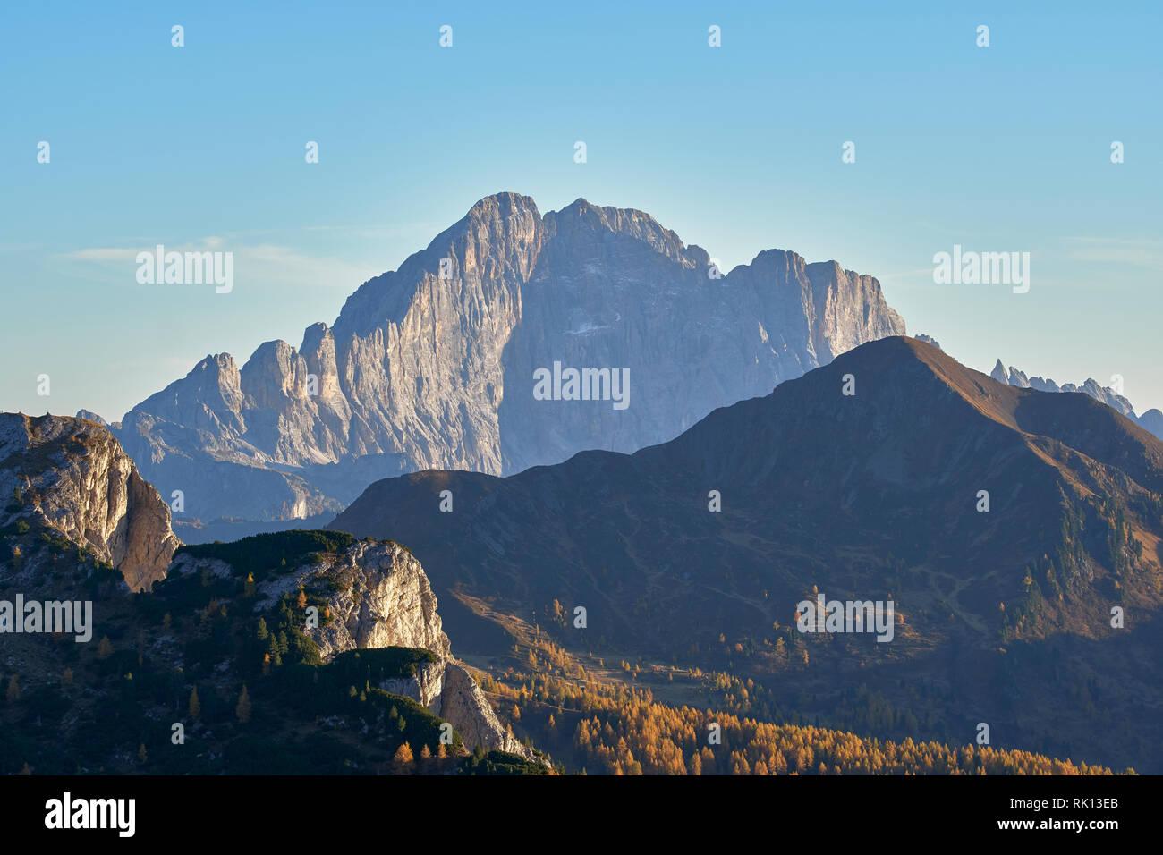 View to Monte Civetta from near the Falzarego Pass, Dolomites, Belluno, Veneto, Italy - Stock Image