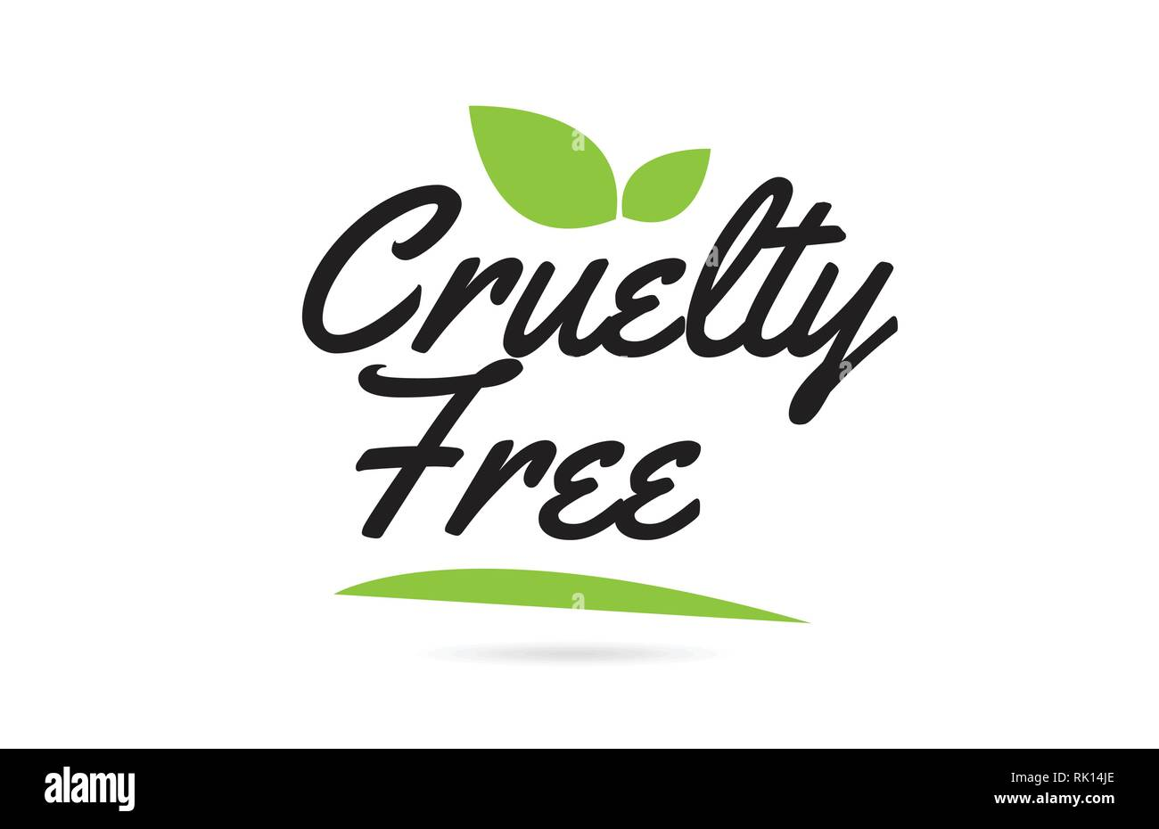 Cruelty Free hand written word text for typography design in green black with leaf  Can be used for a logo or icon Stock Vector
