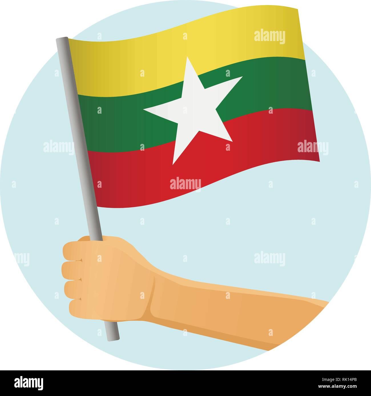 Myanmar flag in hand. Patriotic background. National flag of Myanmar vector illustration - Stock Vector