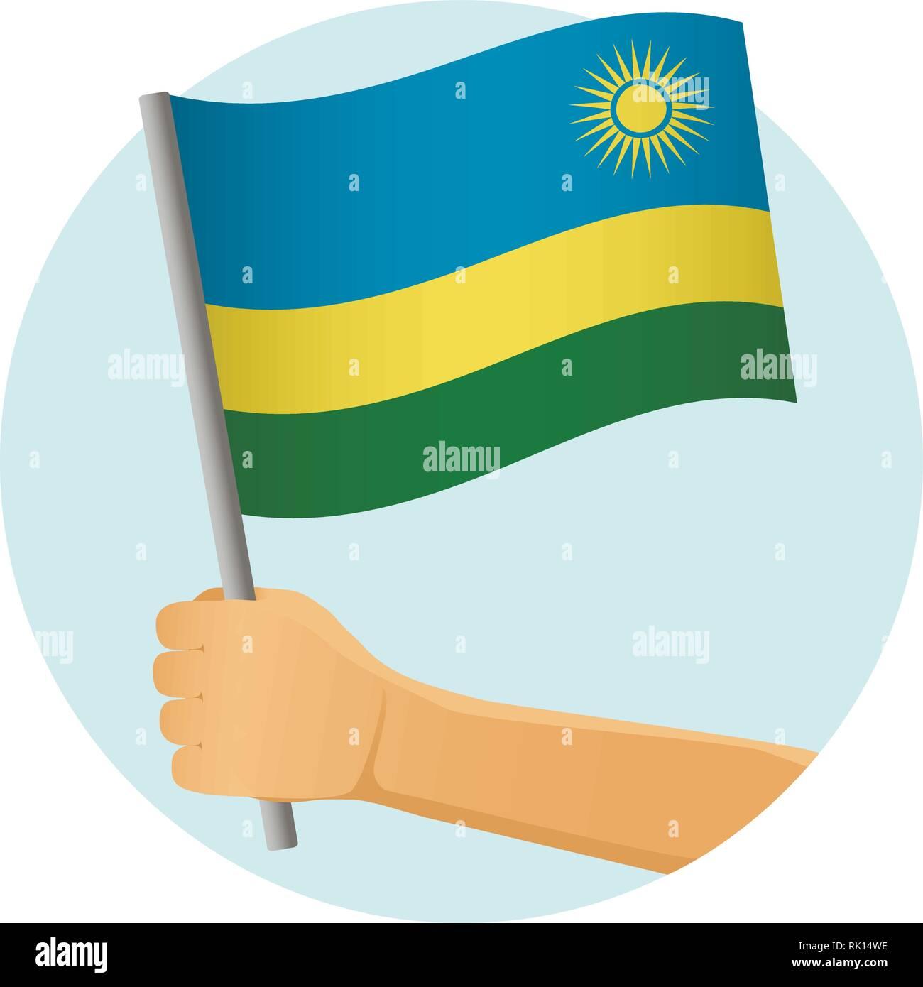 Rwanda flag in hand. Patriotic background. National flag of Rwanda vector illustration - Stock Vector