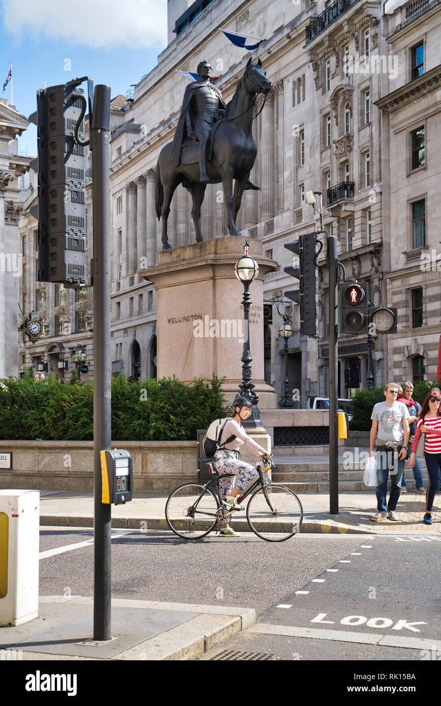 LONDON, UK - SEPTEMBER 9, 2018: Equestrian statue of the Duke of Wellington - Stock Image