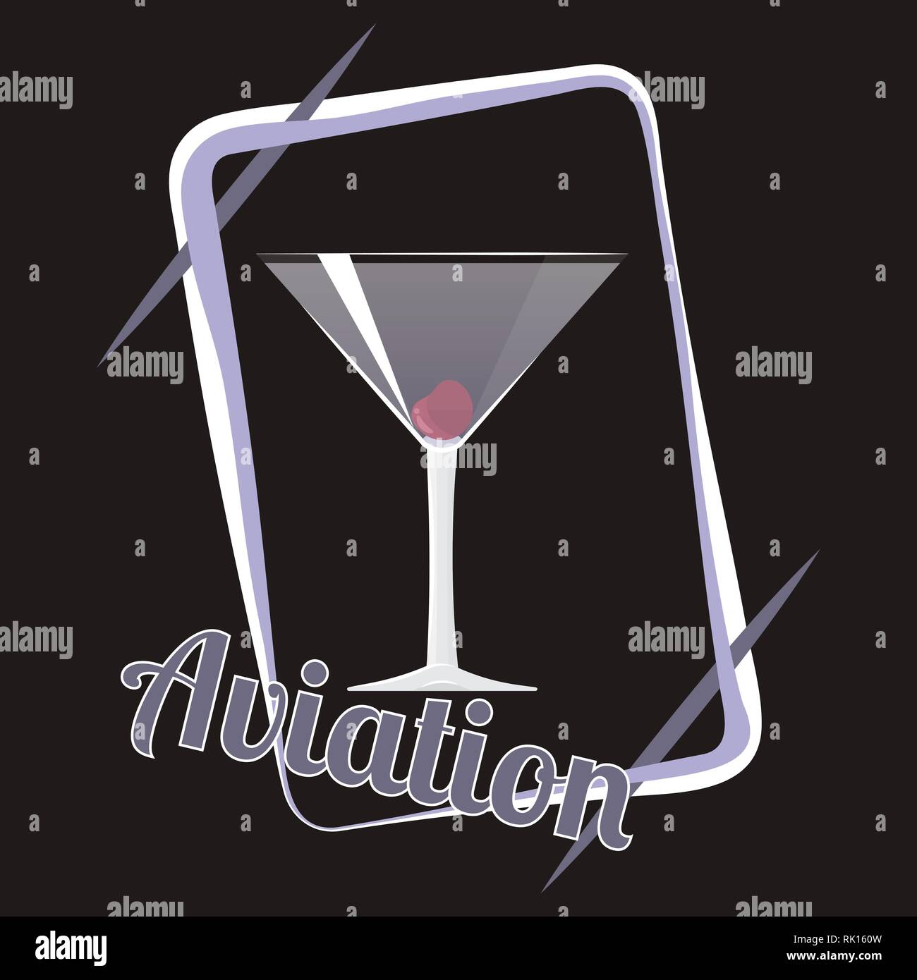 Official cocktail icon, The Unforgettable Aviation cartoon illustration for bar or restoration  alcohol menu in elegant 80s style - Stock Image