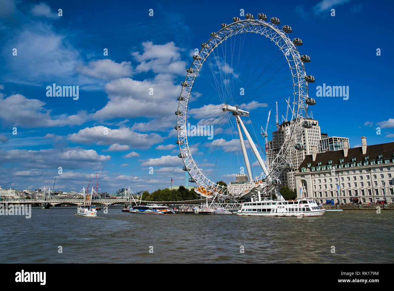 LONDON, UK - SEPTEMBER 9, 2018: Ferris wheel - London Eye, located in the Lambeth district on the south bank of the Thames. The largest in Europe and  Stock Photo
