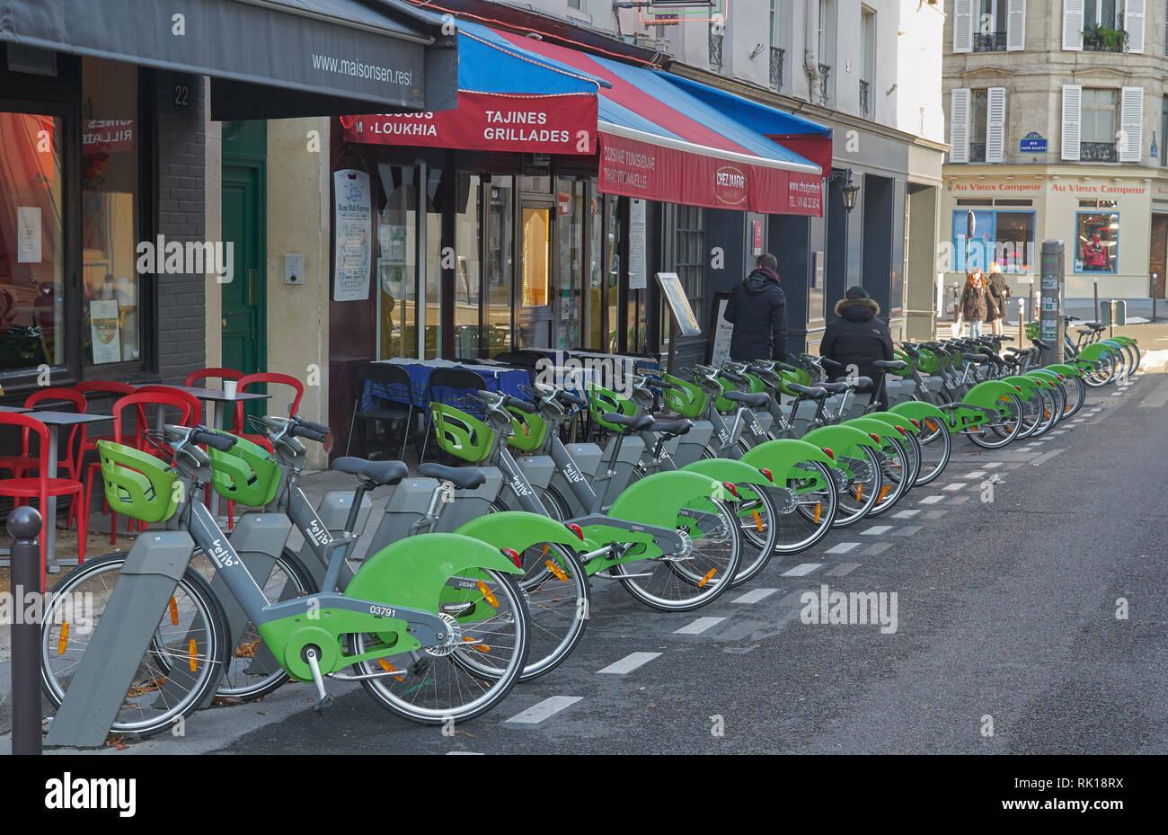 bike hire scheme paris  velib bike paris Stock Photo