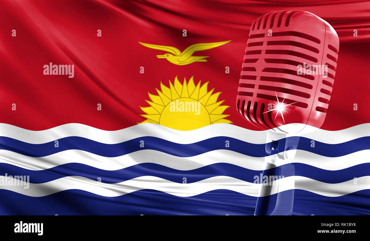 Microphone on fabric background of flag of Kiribati close-up - Stock Image