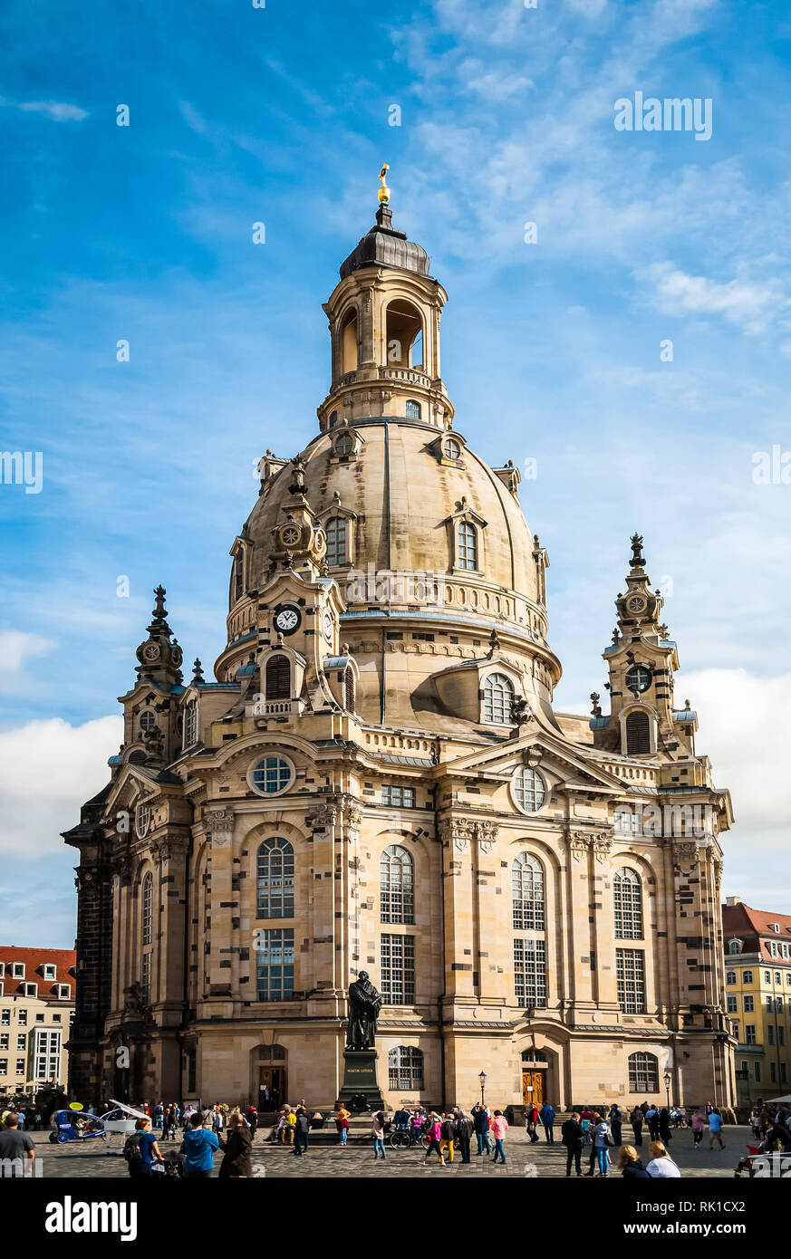 Frauenkirche (Our Lady church) and statue of Martin Luther in the center of old town in Dresden, Germany Stock Photo