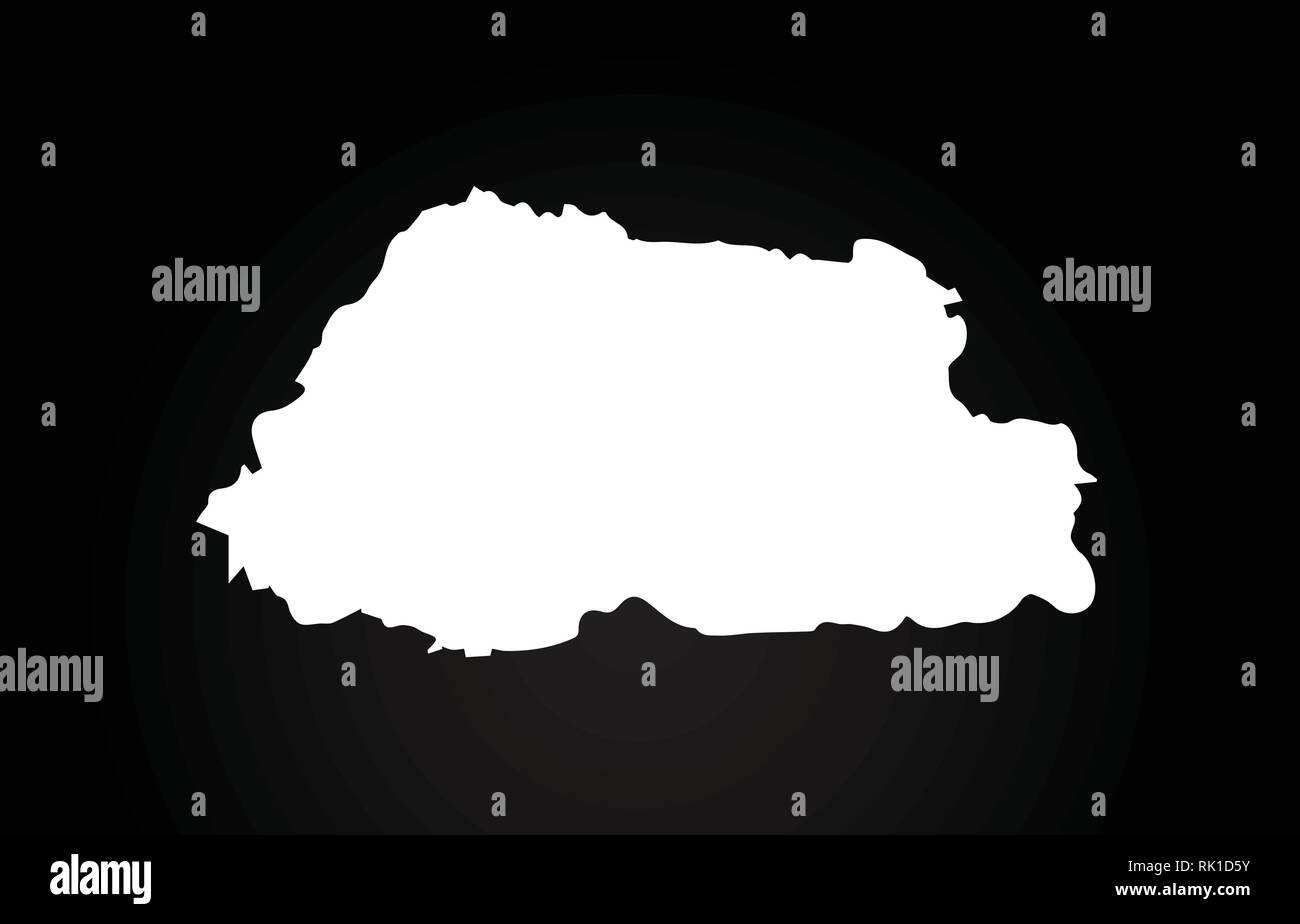 Bhutan black and white country border map logo design. Black background - Stock Vector