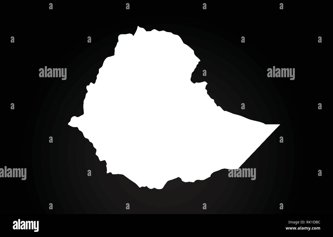 Ethiopia black and white country border map logo design. Black background - Stock Vector