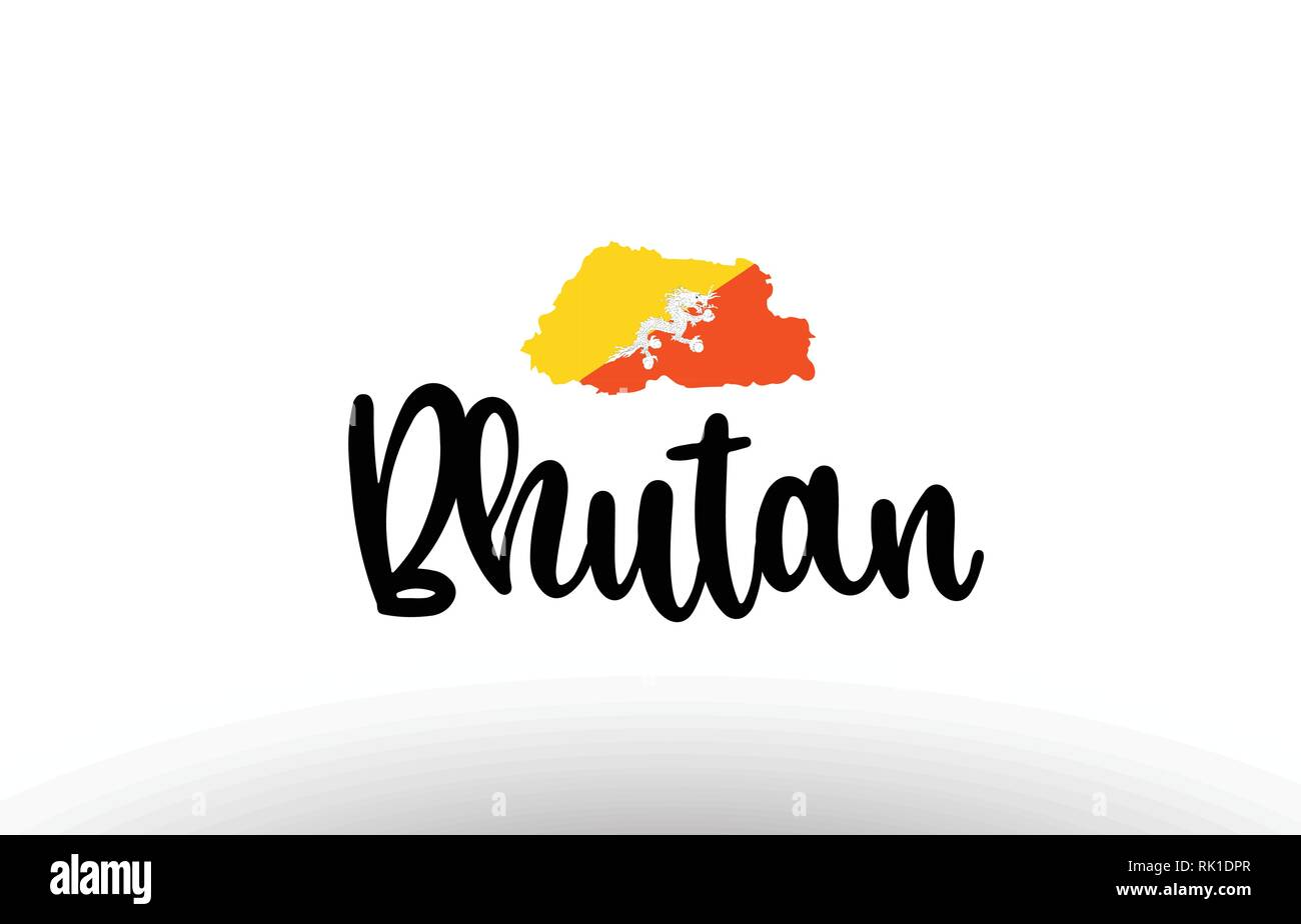 Bhutan country big text with flag inside map suitable for a logo icon design - Stock Vector