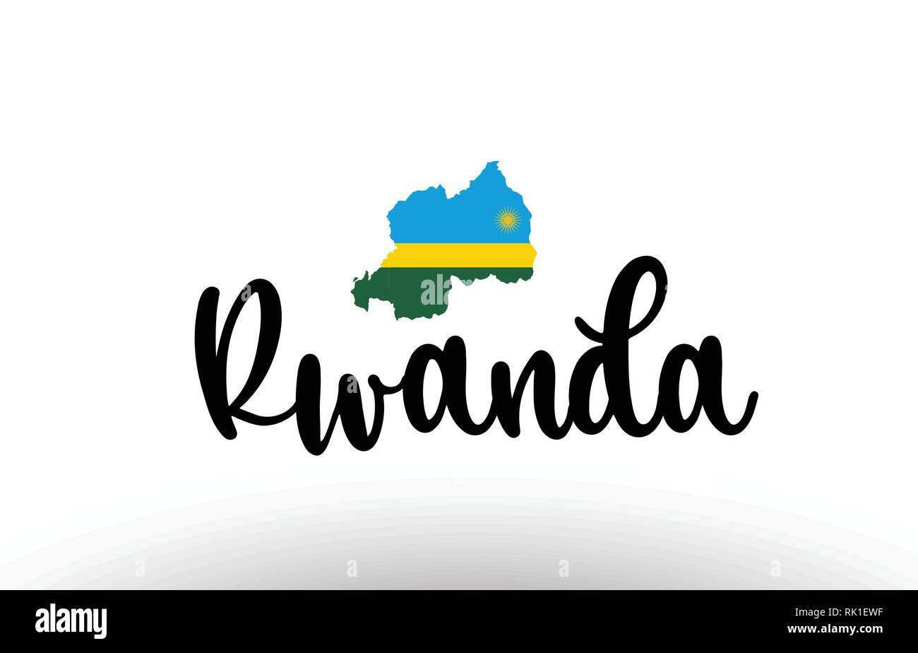Rwanda country big text with flag inside map suitable for a logo icon design - Stock Vector