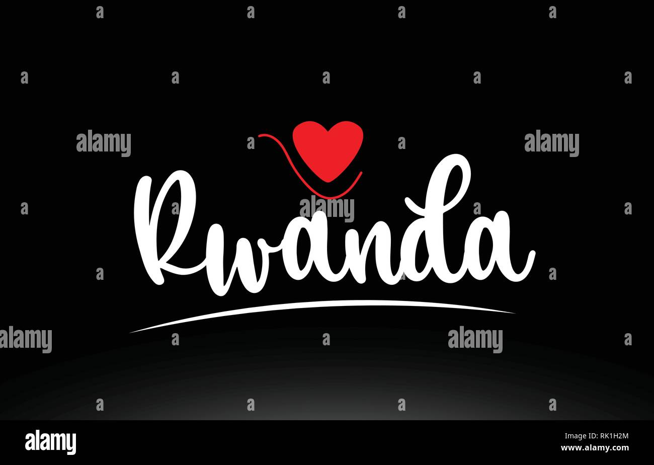 Rwanda country text with red love heart on black background suitable for a logo icon or typography design - Stock Vector