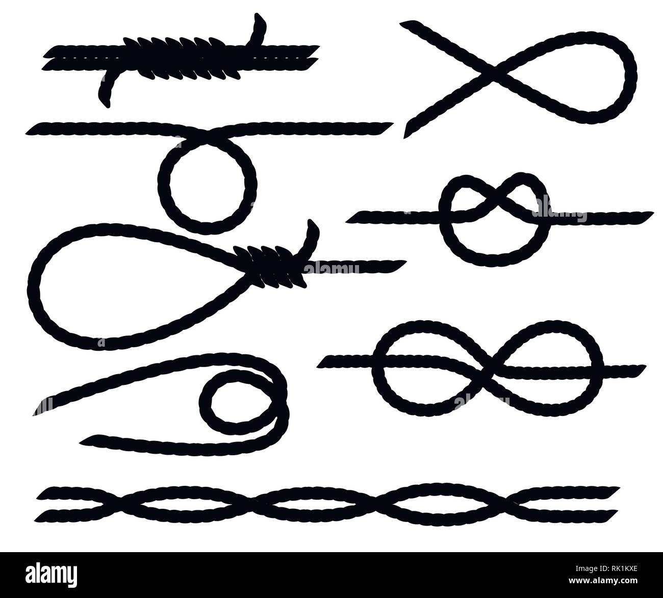 Black silhouette. Set of nautical rope knots. Strong marine rope knots. Flat vector illustration isolated on white background. - Stock Vector