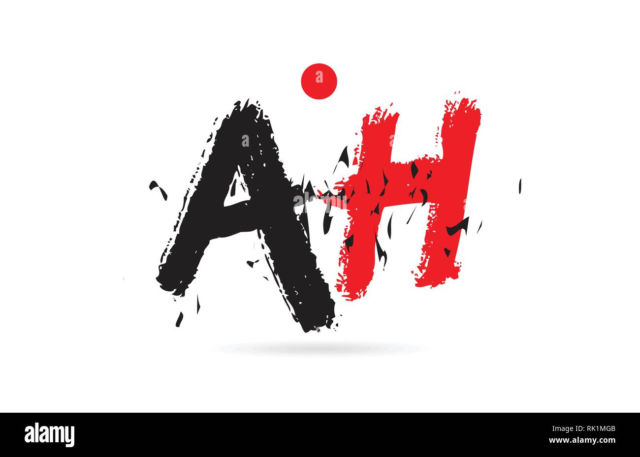 Design of alphabet letter combination AH A H with grunge