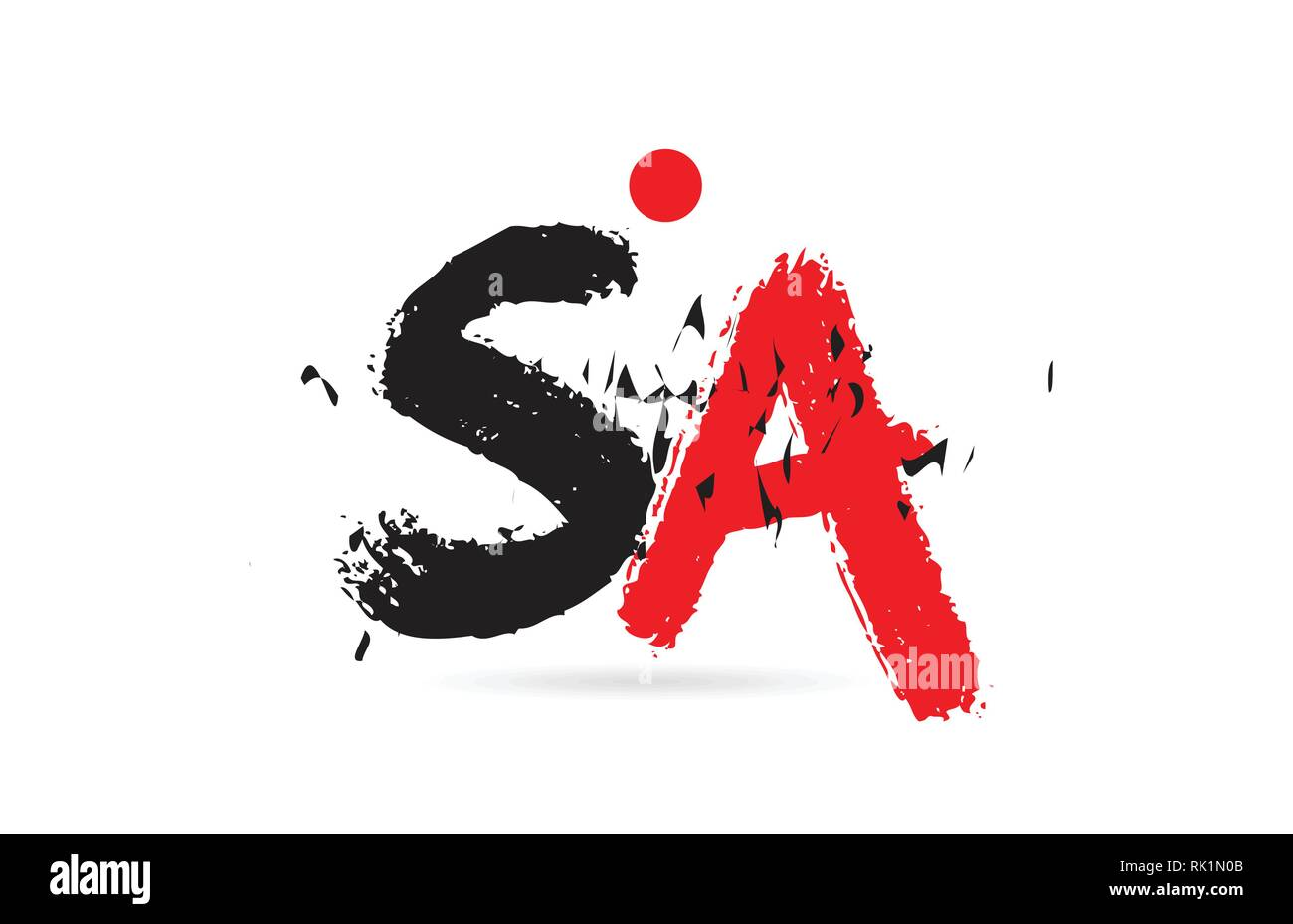 Design of alphabet letter combination SA S A with grunge texture and black red color suitable as a logo for a company or business - Stock Vector