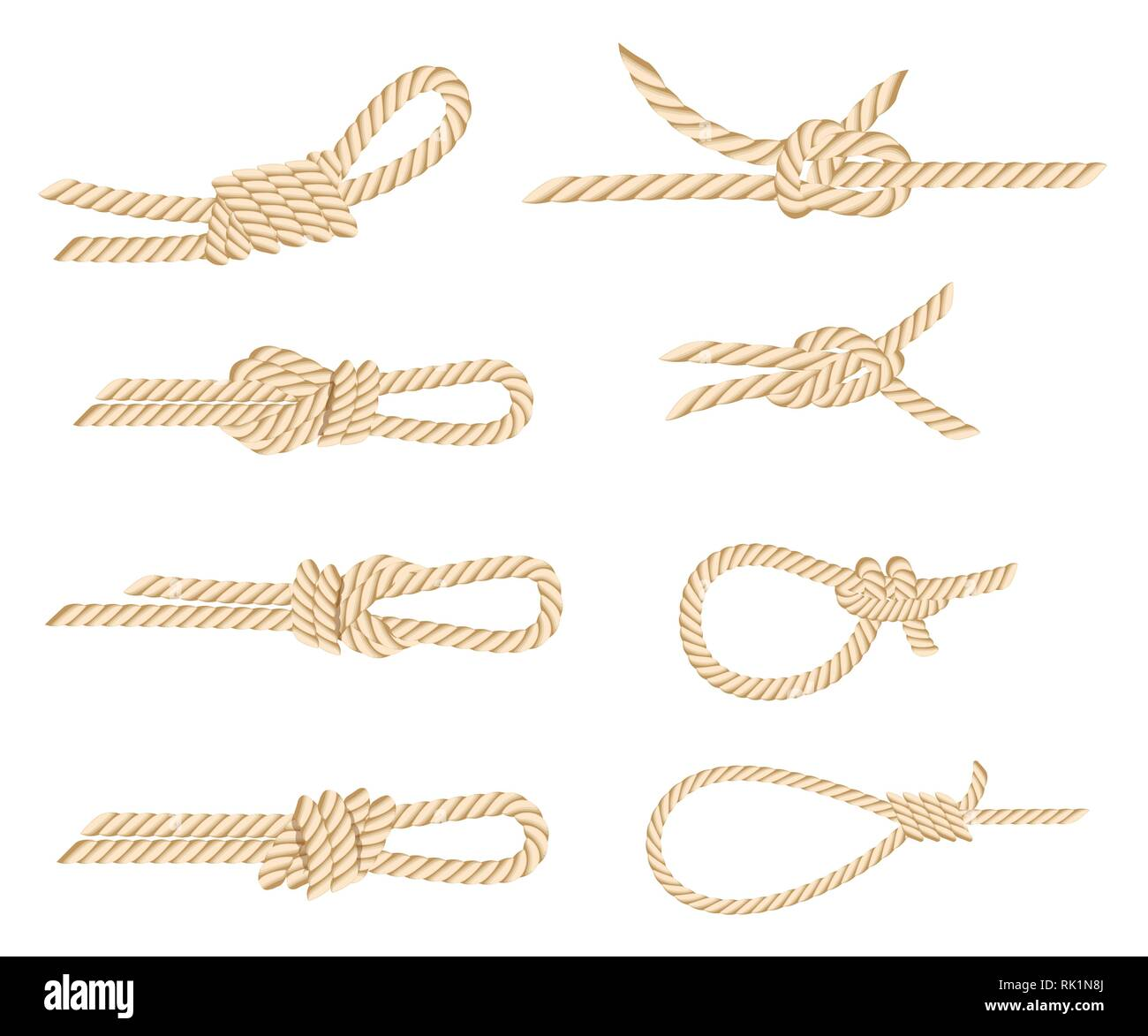 Set of nautical rope knots. Yellow rope. Strong marine rope knots. Flat vector illustration isolated on white background. - Stock Vector