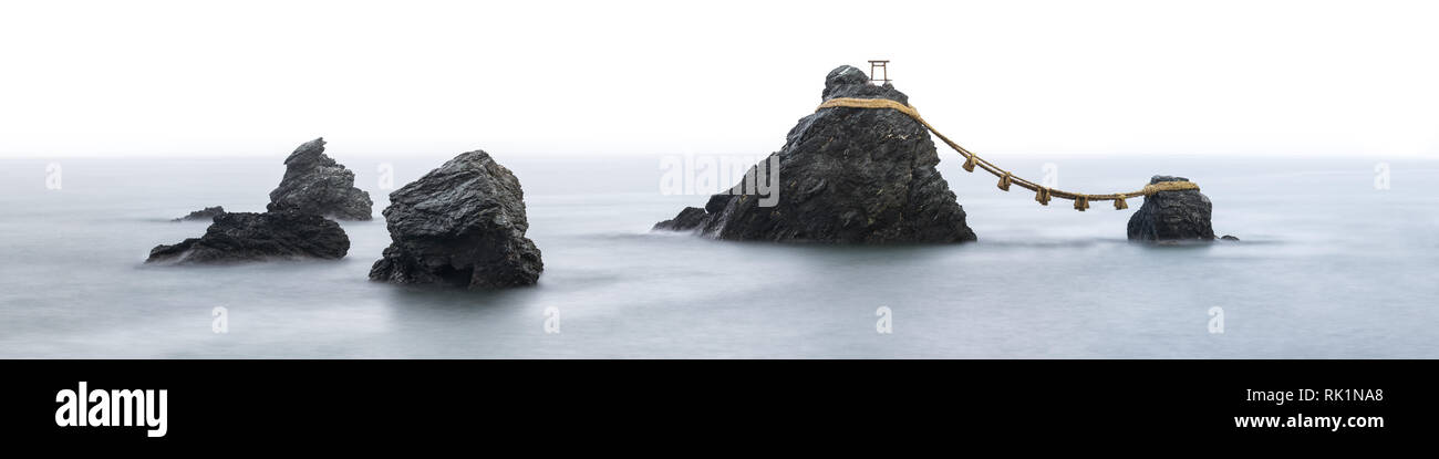 Meoto Iwa also known as the Wedded Rocks, Mie Prefecture, Japan - Stock Image