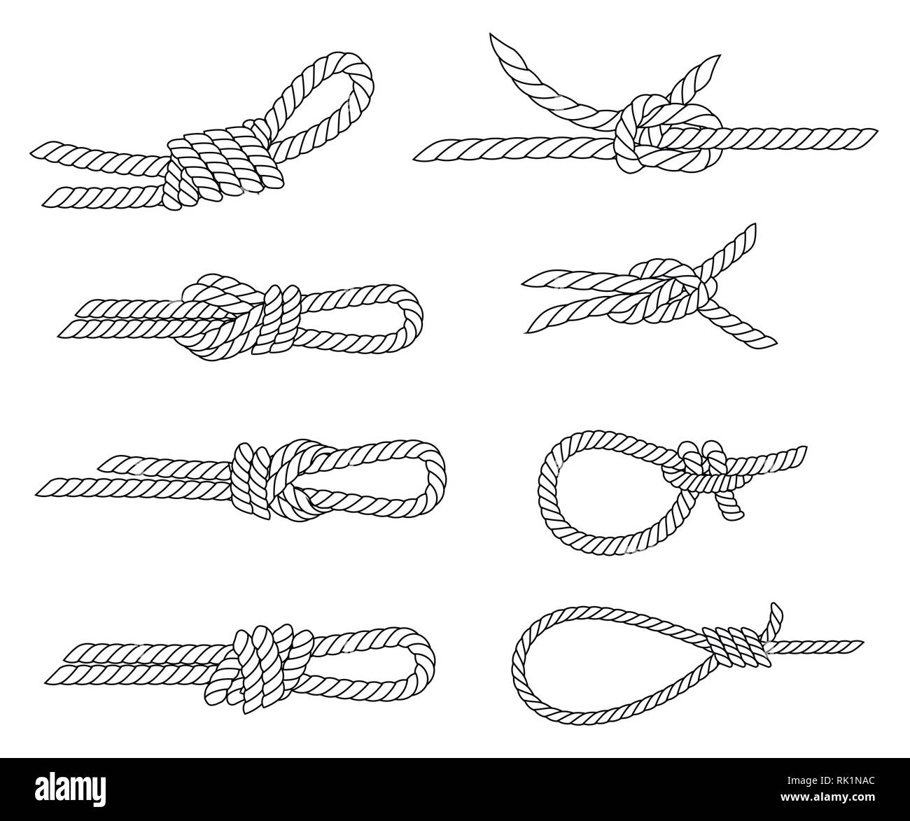 Set of nautical rope knots. Line design. Strong marine rope knots. Flat vector illustration isolated on white background. - Stock Vector
