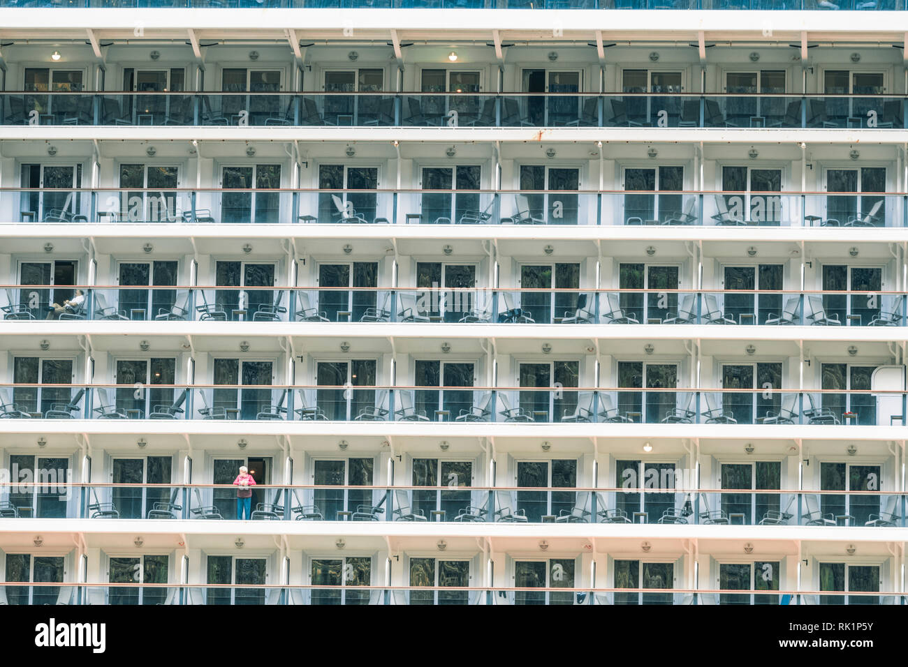 Detail of portholes on multistory cruise ship, full frame - Stock Image