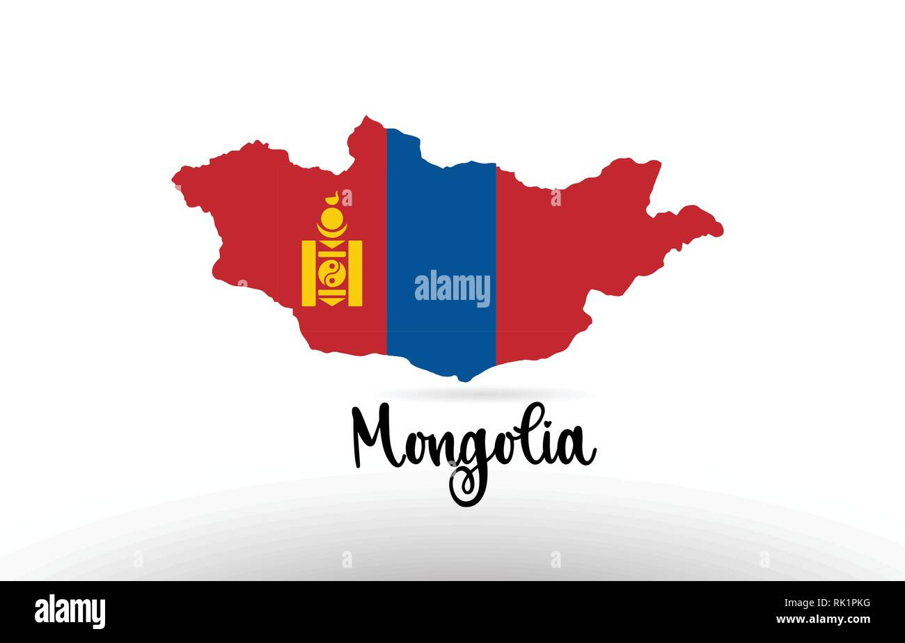 Mongolia country flag inside country border map design suitable for a logo icon design - Stock Vector